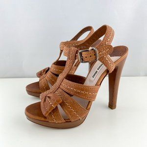 Miu Miu Tan Leather T-Strap Sandal Side Bow Heels